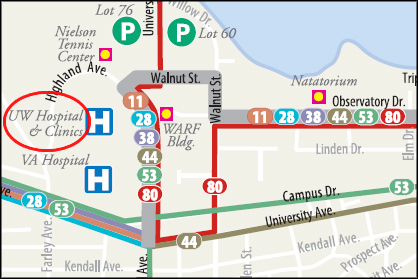 Bus map subsection showing the UW Hospital and VA Hospital