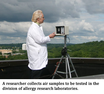 Researcher collecting air samples