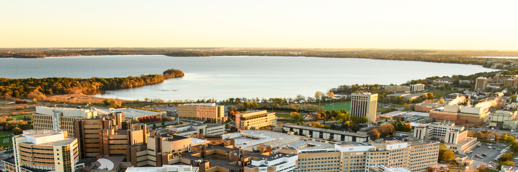 UW Hospital Complex and Lake Mendota aerial view